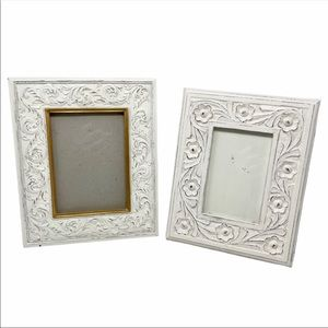 Set of 2 Carved White Wood & Resin -Picture Frames